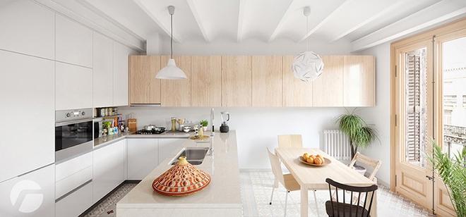 Sơn trắng toàn bộ không gian kết hợp nội thất gỗ - màu công thức cho một căn bếp nhỏ tinh tế và hiện đại - Ảnh 9.