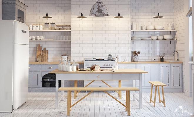 Sơn trắng toàn bộ không gian kết hợp nội thất gỗ - màu công thức cho một căn bếp nhỏ tinh tế và hiện đại - Ảnh 11.