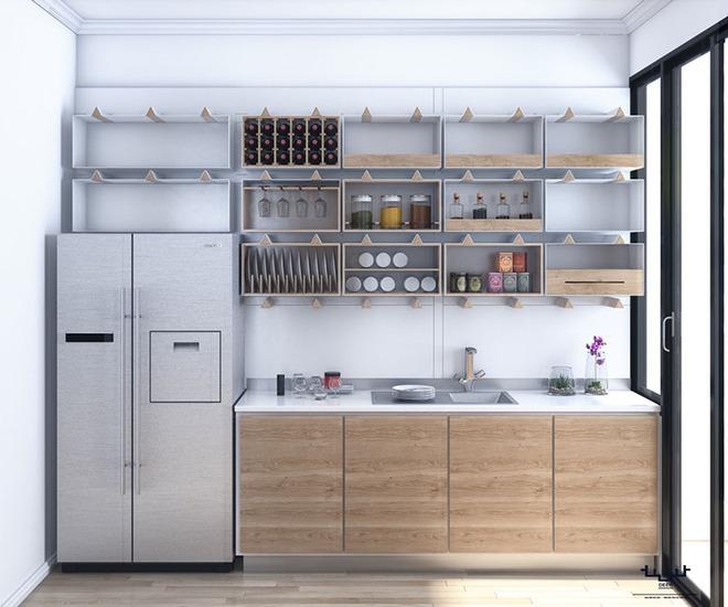 Sơn trắng toàn bộ không gian kết hợp nội thất gỗ - màu công thức cho một căn bếp nhỏ tinh tế và hiện đại - Ảnh 12.