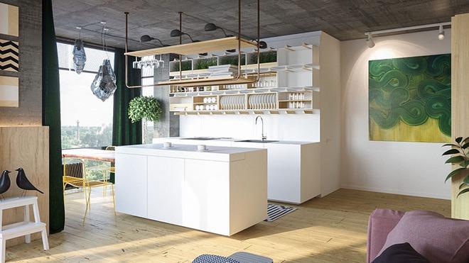 Sơn trắng toàn bộ không gian kết hợp nội thất gỗ - màu công thức cho một căn bếp nhỏ tinh tế và hiện đại - Ảnh 14.