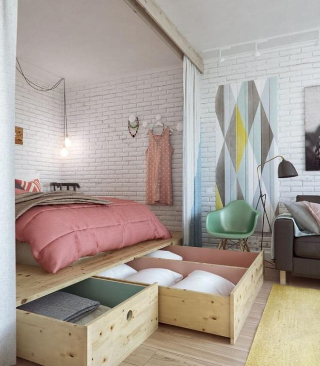 Thiết kế giường giật cấp giúp phòng ngủ nhỏ vừa rộng hơn lại vừa đẹp miễn chê - Ảnh 2.