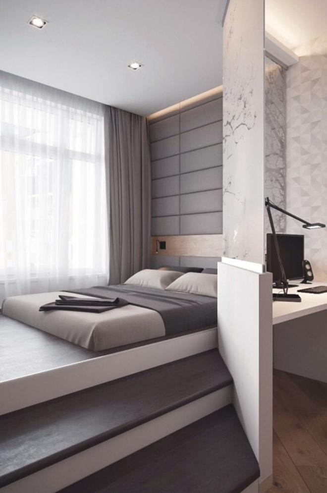 Thiết kế giường giật cấp giúp phòng ngủ nhỏ vừa rộng hơn lại vừa đẹp miễn chê - Ảnh 11.