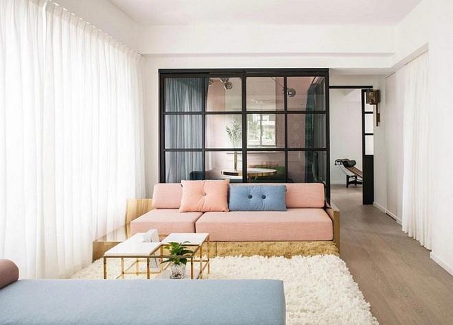 Lâu lắm rồi mới lại thấy một căn hộ sử dụng gam màu hồng pastel khéo léo và đẹp mắt đến thế - Ảnh 1.