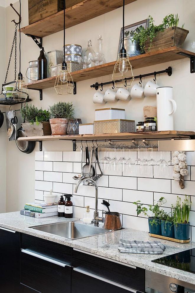 Những căn bếp đẹp hút hồn với kệ gỗ tự nhiên phong cách Rustic - Ảnh 2.