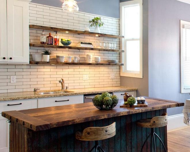 Những căn bếp đẹp hút hồn với kệ gỗ tự nhiên phong cách Rustic - Ảnh 6.