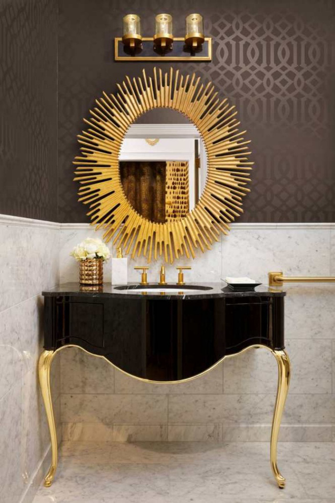 Phòng tắm nhỏ đẹp ấn tượng với 3 kiểu trang trí theo phong cách Art Deco - Ảnh 9.