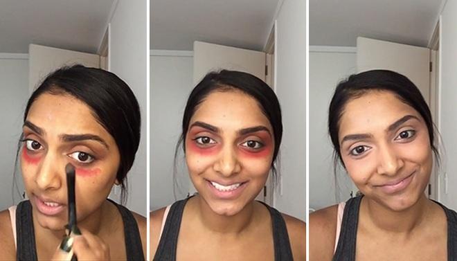 Bôi đỏ như bị đánh thế này mới là cách hay nhất để các chị em che giấu quầng thâm mắt - Ảnh 3.