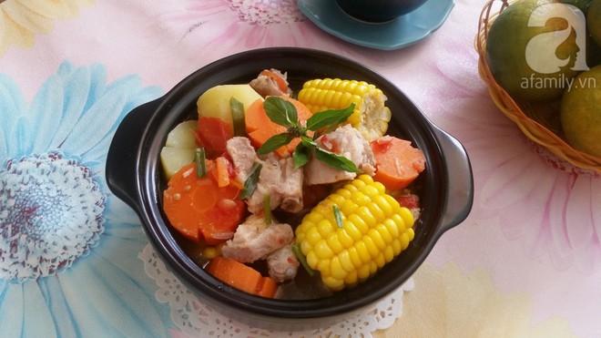 Bữa tối đầy sắc màu với món canh rau củ nấu sườn ngọt thơm hấp dẫn - Ảnh 6.