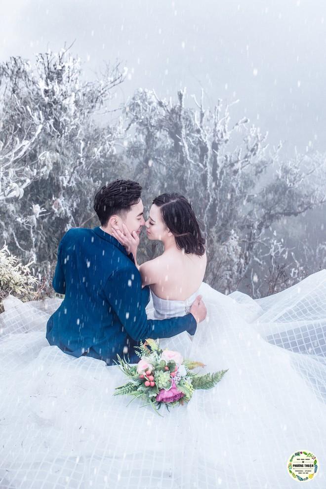 Trọn bộ ảnh cưới vai trần trong băng tuyết của cặp đôi Hà Nội tại Sapa khiến MXH xuýt xoa vì lạnh quá! - Ảnh 6.