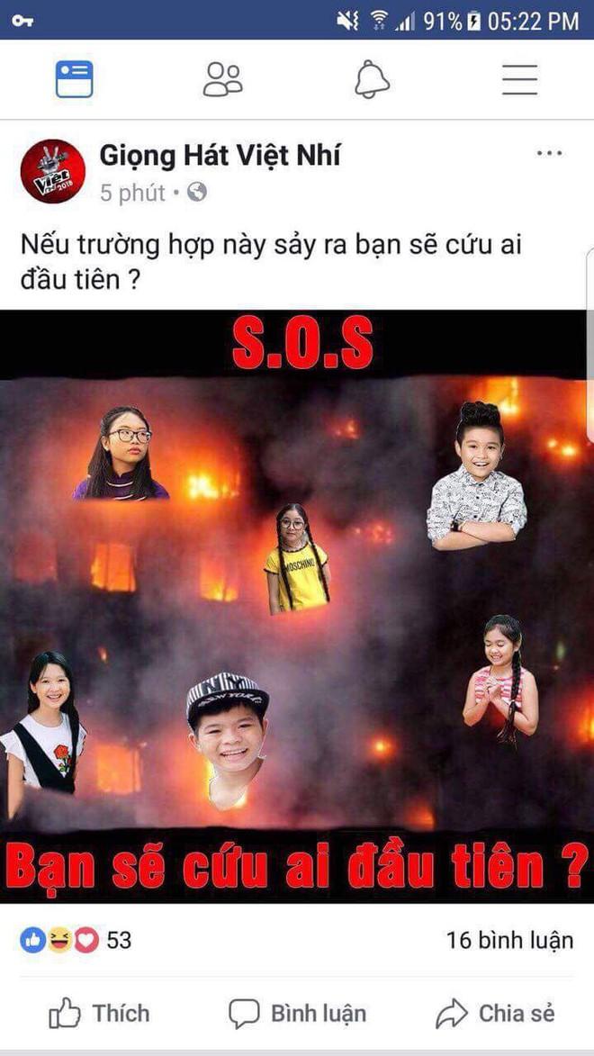 Phẫn nộ khi Giọng hát Việt nhí đăng ảnh phản cảm, đùa cợt trên nỗi đau hỏa hoạn - Ảnh 1.
