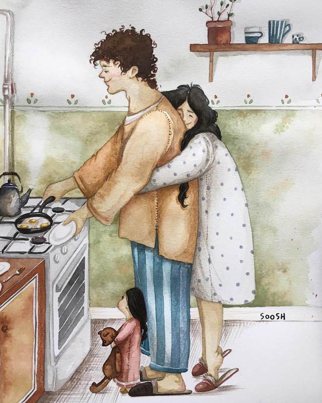 Tan chảy trước bộ tranh một gia đình nhỏ, một hạnh phúc to, ai xem xong cũng ước ao nhà mình được như thế - Ảnh 1.