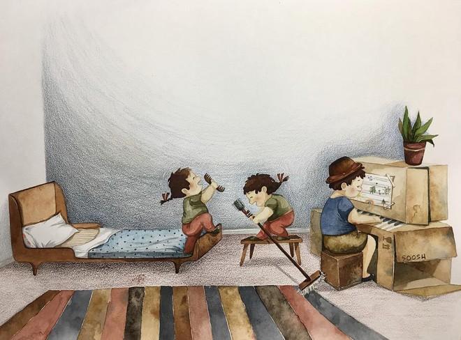 Tan chảy trước bộ tranh một gia đình nhỏ, một hạnh phúc to, ai xem xong cũng ước ao nhà mình được như thế - Ảnh 5.