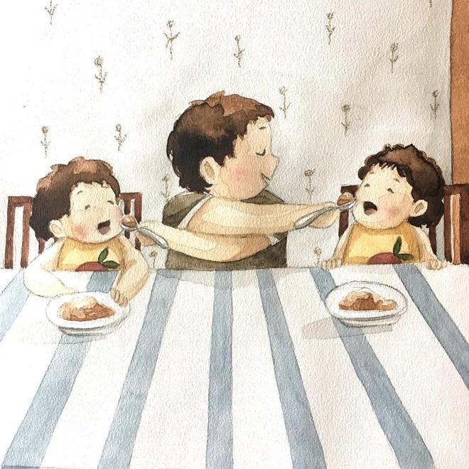 Tan chảy trước bộ tranh một gia đình nhỏ, một hạnh phúc to, ai xem xong cũng ước ao nhà mình được như thế - Ảnh 10.