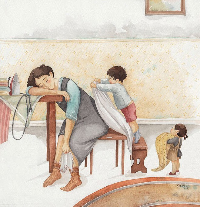 Tan chảy trước bộ tranh một gia đình nhỏ, một hạnh phúc to, ai xem xong cũng ước ao nhà mình được như thế - Ảnh 11.