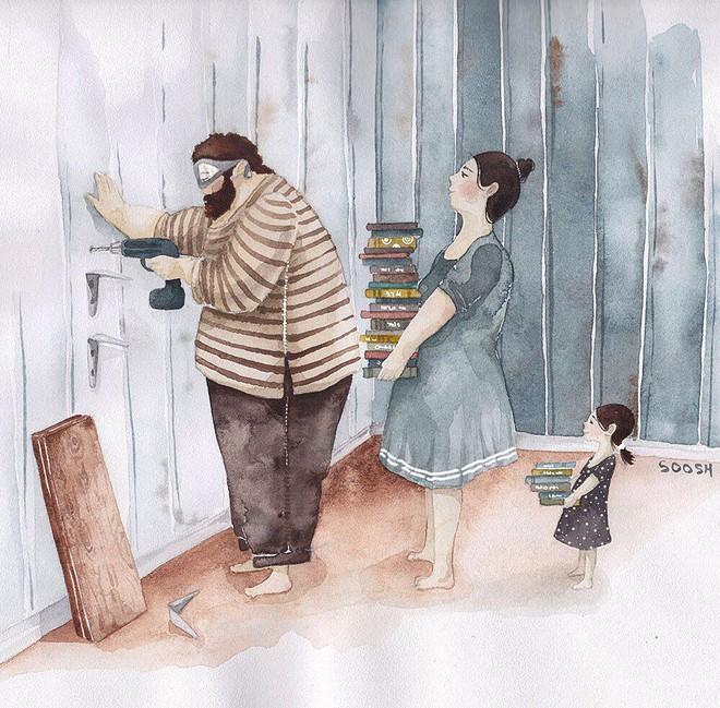 Tan chảy trước bộ tranh một gia đình nhỏ, một hạnh phúc to, ai xem xong cũng ước ao nhà mình được như thế - Ảnh 18.