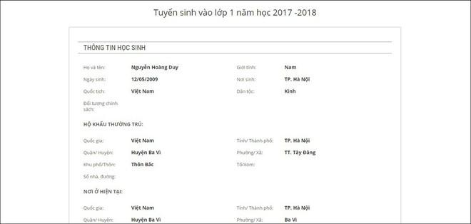 Hướng dẫn bố mẹ đăng ký tuyển sinh trực tuyến vào lớp 1 năm học 2018 - 2019 trên địa bàn Hà Nội - Ảnh 6.