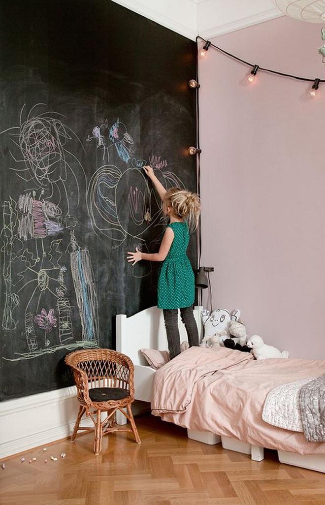 Những kiểu trang trí tường đen thật đẹp mắt trong phòng ngủ của các bé - Ảnh 5.