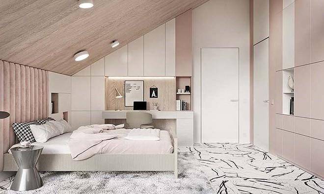 Phòng ngủ màu hồng vừa lạ vừa sang trọng - Ảnh 2.