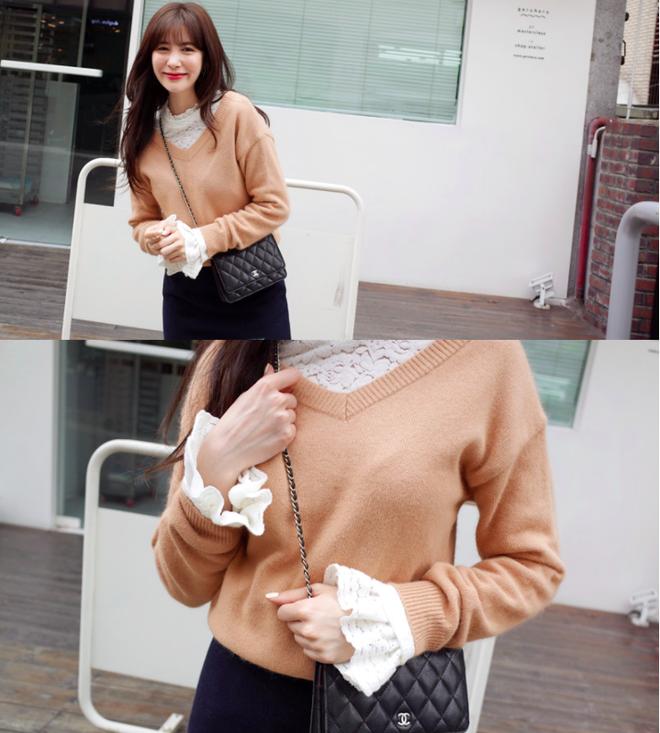 Thêm một cách diện layer áo len/áo nỉ cực xinh cho các nàng nữ tính - Ảnh 3.