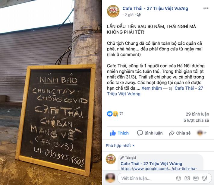 Hưởng ứng lời kêu gọi, hàng loạt quán cafe ở Hà Nội thông báo tạm dừng hoạt động, một số chuyển sang bán online - Ảnh 2.