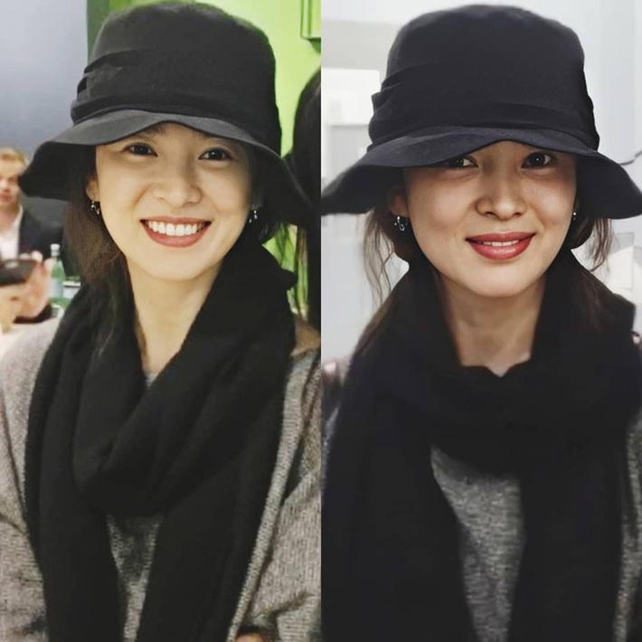 Nhan sắc của Song Hye Kyo xuất chúng đến nỗi chấp được cả những kiểu mũ sến và xuề xoà nhất! - Ảnh 1.