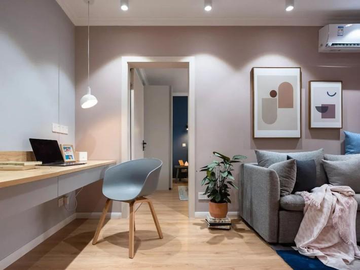 Phong cách Bắc Âu nhẹ nhàng với tông màu xanh, ghi, hồng được kết hợp vô cùng đặc biệt trong căn hộ 56m²  - Ảnh 10.