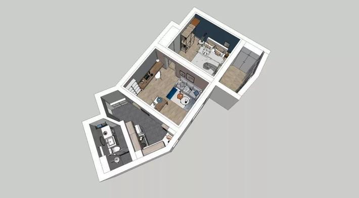 Phong cách Bắc Âu nhẹ nhàng với tông màu xanh, ghi, hồng được kết hợp vô cùng đặc biệt trong căn hộ 56m²  - Ảnh 1.