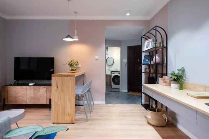 Phong cách Bắc Âu nhẹ nhàng với tông màu xanh, ghi, hồng được kết hợp vô cùng đặc biệt trong căn hộ 56m²  - Ảnh 8.