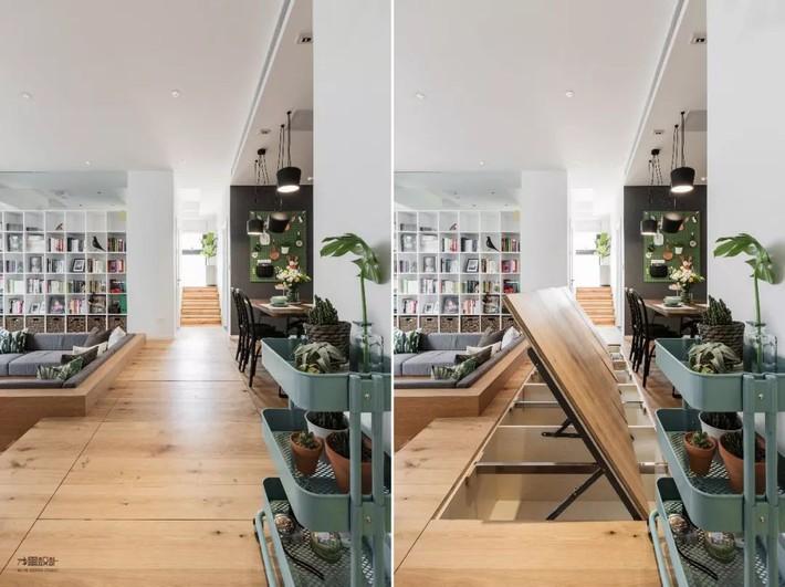 Choáng toàn tập với ngôi nhà sở hữu phòng khách chìm và không gian lưu trữ rộng lớn ẩn dưới mặt sàn bằng gỗ - Ảnh 6.