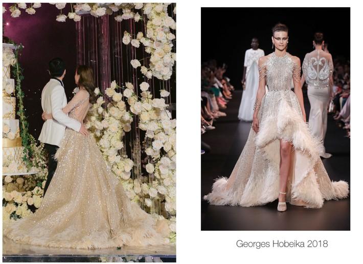 Váy cưới của Văn Vịnh San trong hôn lễ với chồng đại gia: chiếc lộng lẫy xa hoa, chiếc siêu to khổng lồ với mức giá trên trời gây choáng - Ảnh 6.
