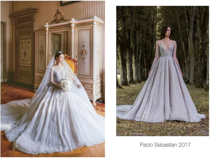 Váy cưới của Văn Vịnh San trong hôn lễ với chồng đại gia: chiếc lộng lẫy xa hoa, chiếc siêu to khổng lồ với mức giá trên trời gây choáng - Ảnh 4.