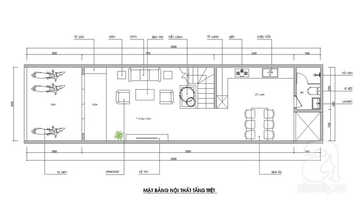 Tư vấn thiết kế nhà ống 64m² để đảm bảo 2 công năng vừa ở vừa cho thuê rất hợp lí - Ảnh 1.