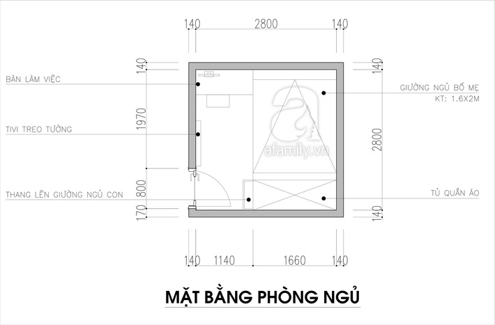 Tư vấn thiết kế phòng ngủ siêu bé với diện tích 8,4m² cho gia đình 5 người - Ảnh 1.