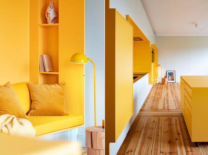 Cải tạo căn hộ gần trăm tuổi thành nơi ở hiện đại nhờ sắc vàng ấm áp - Ảnh 7.