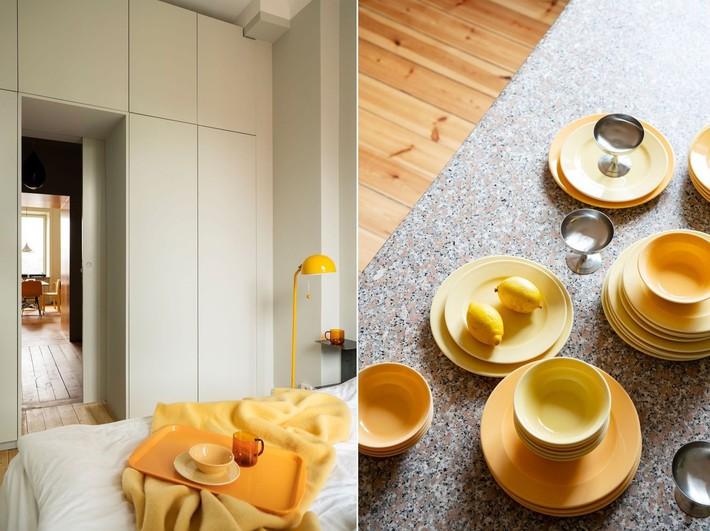 Cải tạo căn hộ gần trăm tuổi thành nơi ở hiện đại nhờ sắc vàng ấm áp - Ảnh 8.
