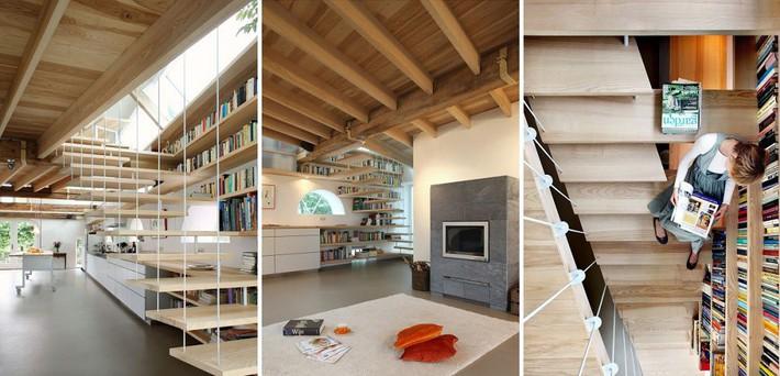 Tận dụng cầu thang thành tủ sách đang trở thành xu hướng, có thiết kế khiến giới mộ điệu phải ngạc nhiên vì sự hoành tráng đến không tưởng - Ảnh 10.