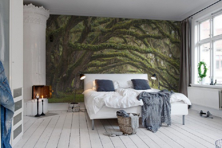 Trang trí phòng ngủ ấn tượng nhờ giấy dán tường chân thực đến khó tin - Ảnh 7.