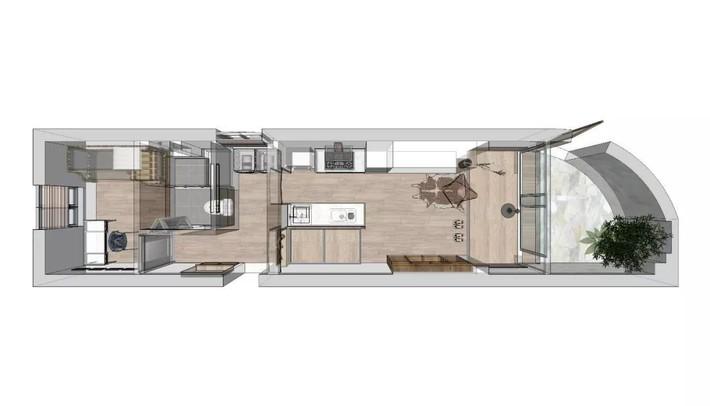 Căn hộ 27m² cũ rích, vừa hẹp vừa dài biến hình thành không gian hiện đại dành cho gia đình 5 người sau cải tạo - Ảnh 1.