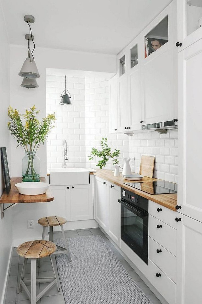 9 phòng bếp nhỏ xíu nhưng nhìn là mê, rất đáng tham khảo cho nhà chật - Ảnh 5.