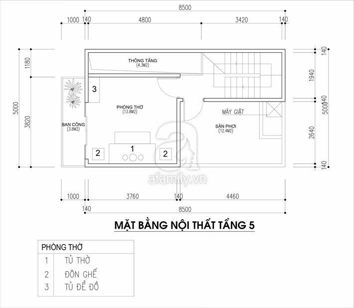 Tư vấn thiết kế nhà cho gia đình 6 thành viên trên mảnh đất 8,5x5m - Ảnh 5.