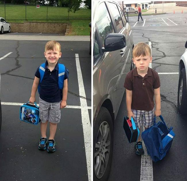 14 bộ mặt tiu nghỉu của lũ trẻ trước và sau ngày đi học đầu tiên sẽ khiến bạn cười rơi hàm - Ảnh 7.