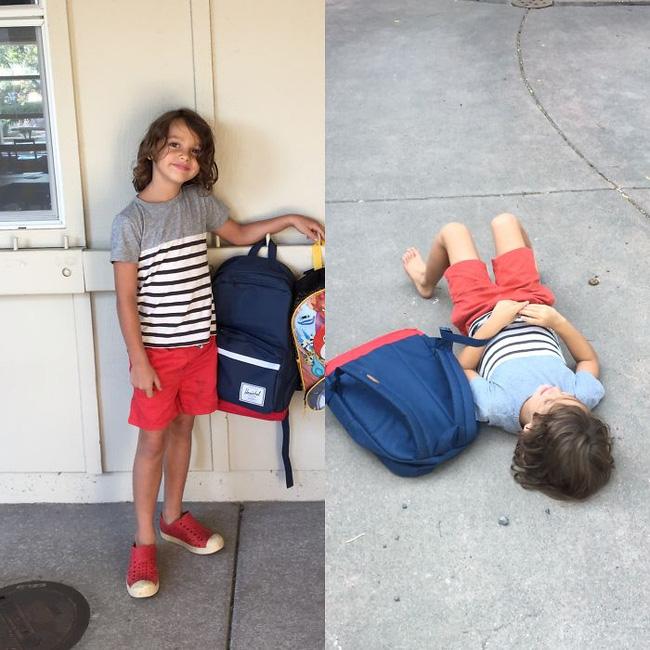 14 bộ mặt tiu nghỉu của lũ trẻ trước và sau ngày đi học đầu tiên sẽ khiến bạn cười rơi hàm - Ảnh 11.