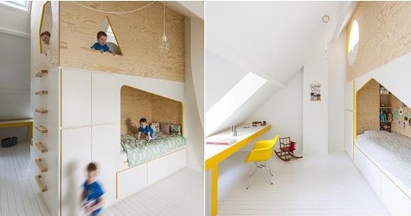 """Với phòng ngủ """"nhỏ mà có võ"""" thế này, bố mẹ hoàn toàn có thể yên tâm về nơi ngủ, chỗ chơi cho trẻ"""