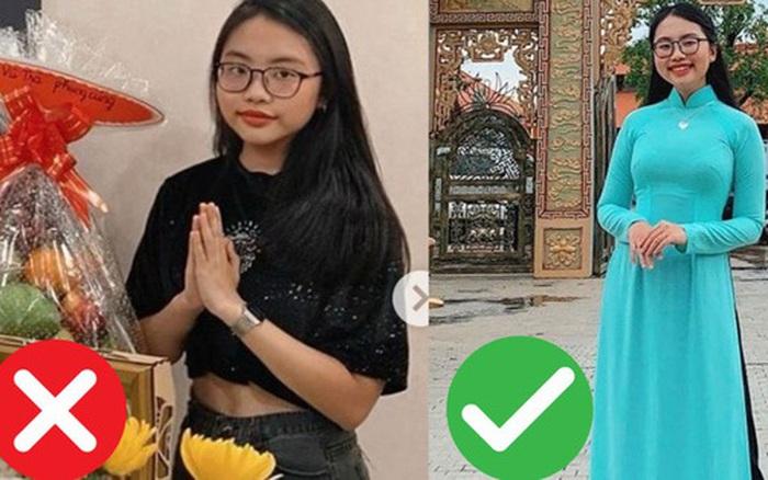 Từng bị chê ăn mặc thiếu nghiêm túc cúng Tổ nghiệp, năm nay Phương Mỹ Chi sửa sai với phong cách nền nã trưởng thành