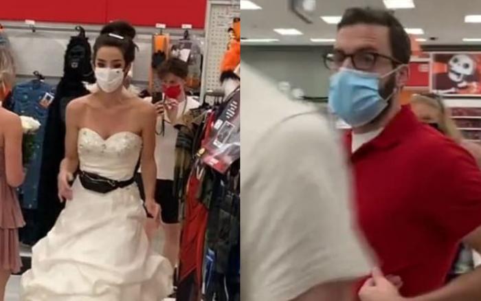 Cô gái nôn nóng mặc luôn váy cưới đến chỗ làm bắt bạn trai cưới mình ngay và luôn, phản ứng của đối phương khiến ai nhìn cũng thấy thương