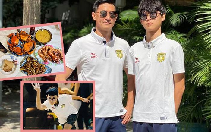 15 tuổi cao 1m80, con trai diễn viên Huy Khánh chơi chục môn thể thao nhưng nhìn chế độ dinh dưỡng mới khủng