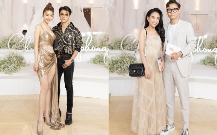 Con gái Minh Nhựa tình tứ bên chồng, Linh Chi diện váy xẻ cao