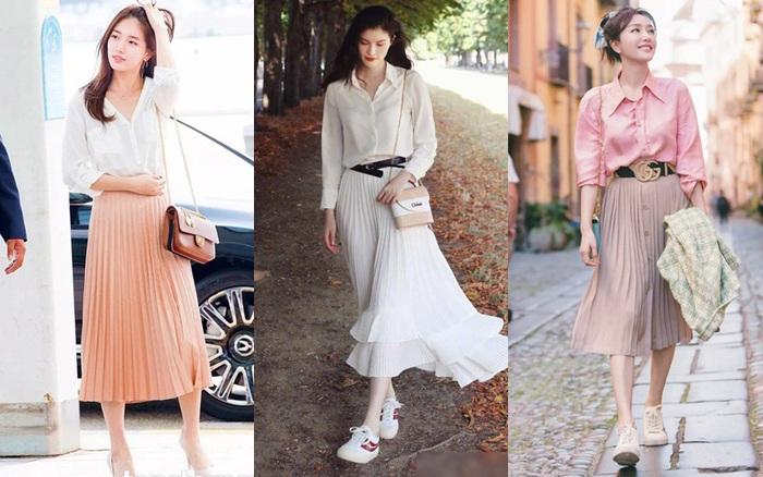 Chân váy xếp ly chính là bảo bối mặc đẹp cho nàng công sở, đã dễ diện còn không bao giờ lỗi mốt