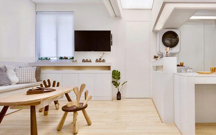Căn hộ màu trắng chỉ vỏn vẹn 20m² vẫn đủ cho gia đình 6 người nhờ cách bố trí nội thất siêu linh hoạt