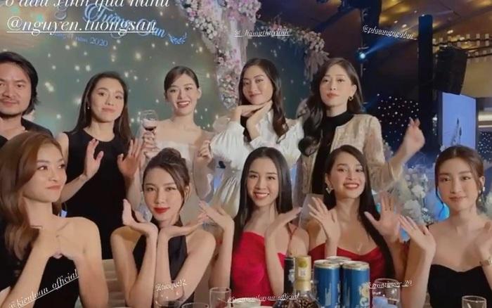 Đám cưới Á hậu Tường San: Dàn Hoa - Á hậu đọ sắc không kém thảm đỏ, khoảnh khắc Tiểu Vy bắt được hoa cưới